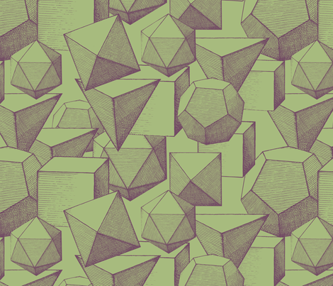 polyhedra green & purple fabric by ravynka on Spoonflower - custom fabric
