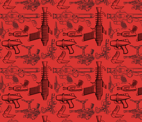 Ray Gun Revival (Red) fabric by studiofibonacci on Spoonflower - custom fabric