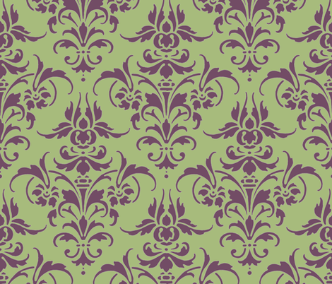 Iris and Celadon Damask   fabric by peacoquettedesigns on Spoonflower - custom fabric