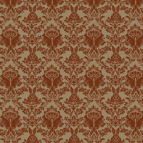 streampunk damask rabbit chocolate/taupe fabric by mandaboo on Spoonflower - custom fabric