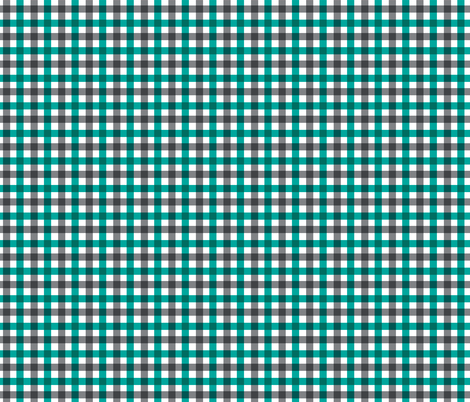 Aqua and Charcoal Gingham fabric by crowlands on Spoonflower - custom fabric