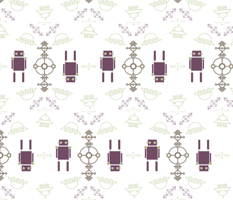 purple robot fabric by secretmission on Spoonflower - custom fabric