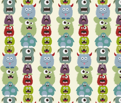 Balancing Monsters fabric by dogsndubs on Spoonflower - custom fabric