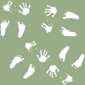 Happy Little Hands & Feet - White on Green