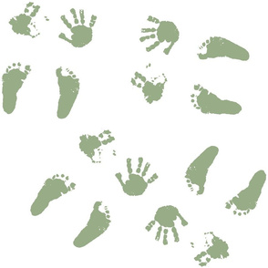 Happy Little Hands & Feet - Green on White