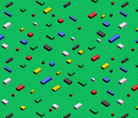 Scattered bricks on green fabric by spacefem on Spoonflower - custom fabric