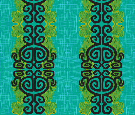 Kauai Riviera in blue ciracao fabric by sophista-tiki_by_dawn_frasier on Spoonflower - custom fabric