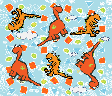 MR. DINO AND DINA SAURUS fabric by deeniespoonflower on Spoonflower - custom fabric