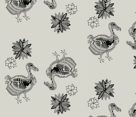 Day of the Dead Dodo fabric by julia_canright on Spoonflower - custom fabric