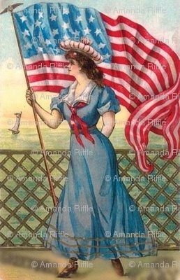 victorian lady/american flag
