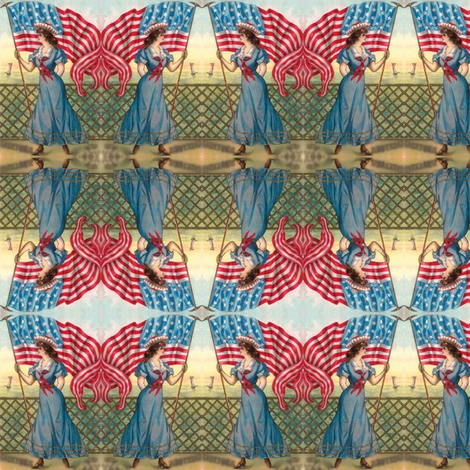 victorian lady/american flag fabric by mandaboo on Spoonflower - custom fabric