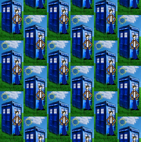 Doctor Who Matt Smith Inspired TARDIS & Apple Grass fabric by bohobear on Spoonflower - custom fabric