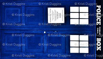 Bright Blue Police Box (LARGE format for quilts and throws)
