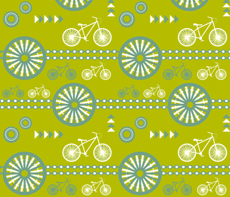 saturday  - mid century blue on green  fabric by fable_design on Spoonflower - custom fabric