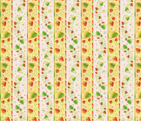 Jacobean Strawberries by Patricia Shea fabric by patricia_shea on Spoonflower - custom fabric