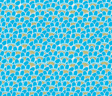 PostCrossing RU-983197 Blue fabric by dolphinandcondor on Spoonflower - custom fabric