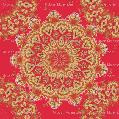 Medallion in gold and red