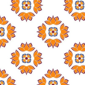 Lotus Flower Orange on White BG