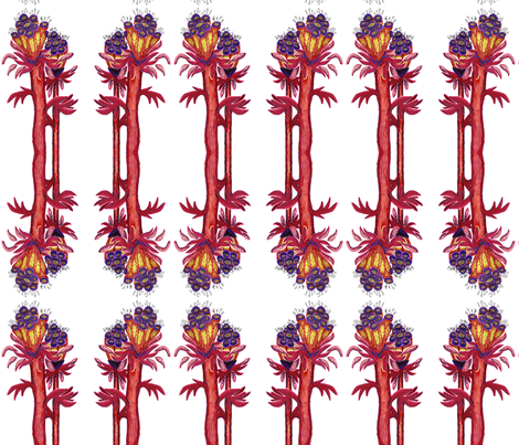 fantasy_flowers_red fabric by kcs on Spoonflower - custom fabric
