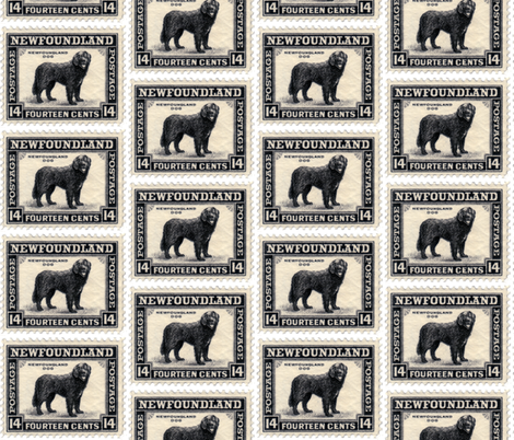 Newfoundland Dog Stamp fabric or wallpaper fabric by dogdaze_ on Spoonflower - custom fabric