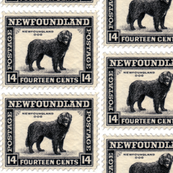Newfoundland Dog Stamp fabric or wallpaper