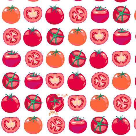 tomato polka splat fabric by coggon_(roz_robinson) on Spoonflower - custom fabric