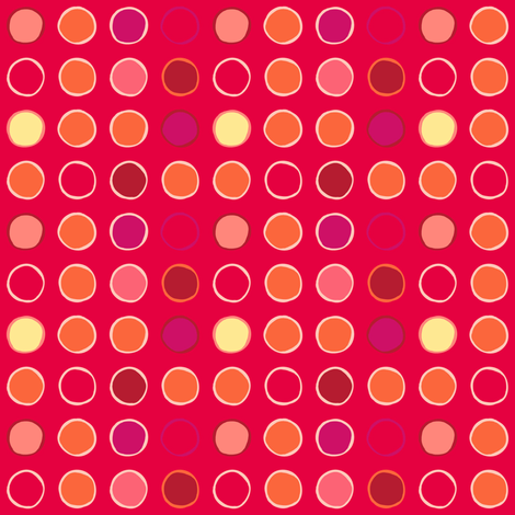 polka spots - bright tomato fabric by coggon_(roz_robinson) on Spoonflower - custom fabric
