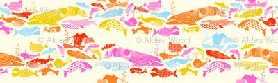 A Geometric Cetacean Parade - Pink Party on Cream