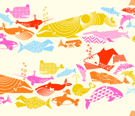 A Geometric Cetacean Parade - Pink Party on Cream fabric by aldea on Spoonflower - custom fabric