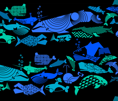 A Geometric Cetacean Parade - Deep Sea fabric by aldea on Spoonflower - custom fabric