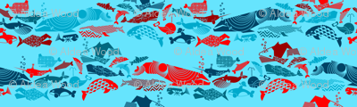 A Geometric Cetacean Parade - Reds and Turquoise