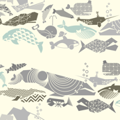 Geometric Whales on Parade - Greys on Cream