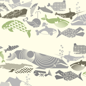 Geometric Whales on Parade - Greys on Cream