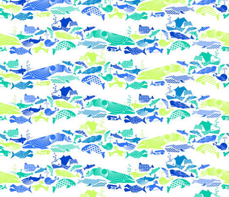 A Geometric Cetacean Parade - Ocean Medley fabric by aldea on Spoonflower - custom fabric
