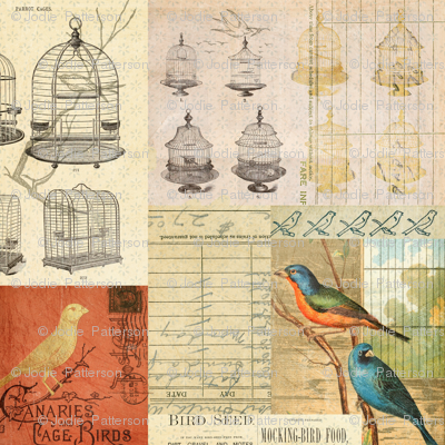 Antique Vintage Botanical Bird Collage