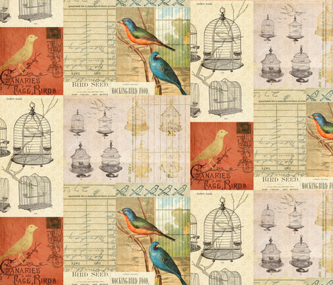 Antique Vintage Botanical Bird Collage fabric by jodielee on Spoonflower - custom fabric