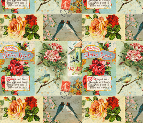 Antique Love Bird Postcard Collage fabric by jodielee on Spoonflower - custom fabric