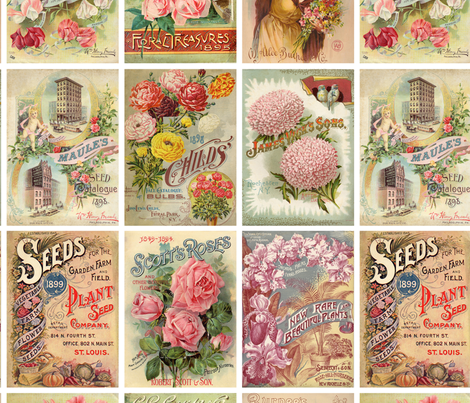Antique Flower Seed Packets Crazy Quilt Fabric fabric by jodielee on Spoonflower - custom fabric
