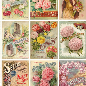 Antique Flower Seed Packets Crazy Quilt Fabric