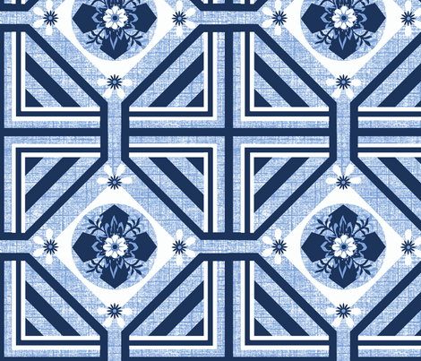 A Geo / Flo blue fabric by paragonstudios on Spoonflower - custom fabric