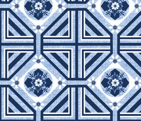 A Geo / Flo blue fabric by paragonstudios on Spoonflower - custom fabric