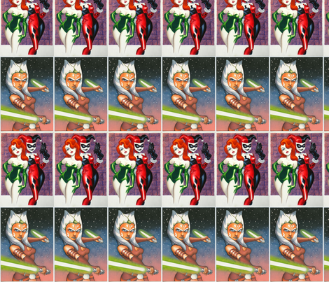 Ahsoka, Poison Ivy, and Harley Quinn fabric by cotton29 on Spoonflower - custom fabric
