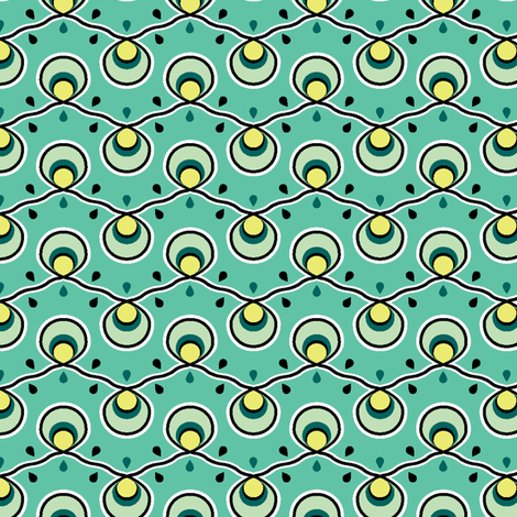 Blue Green Bulbs fabric by ravenous on Spoonflower - custom fabric