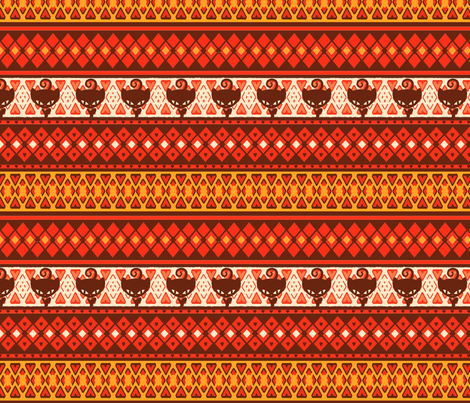 Kitty Fairisle Tribal fabric by lovekittypink on Spoonflower - custom fabric