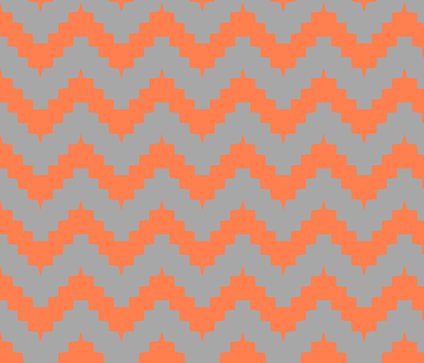 chevron gray and tangerine fabric by ravynka on Spoonflower - custom fabric