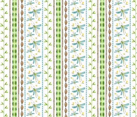 Dragonfly Stripe - Frolic Collection fabric by gollybard on Spoonflower - custom fabric