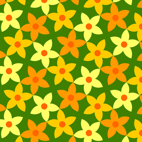S43 flowers - pumpkin fabric by sef on Spoonflower - custom fabric