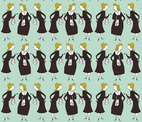gossiping ladies fabric by mummysam on Spoonflower - custom fabric
