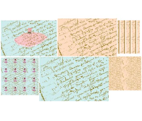 A French script Sampler fabric by karenharveycox on Spoonflower - custom fabric