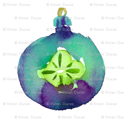 cestlaviv_teal flower vintage ornaments